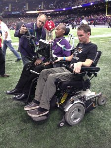 O.J. Brigance and Steve Gleason at Super Bowl